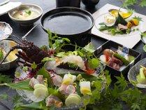 【愉楽コース】新鮮な伊勢海老と黒毛和牛が味わえます。