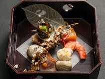 9月お献立(口代わり)海老生姜煮 さざえ江の島和え 秋刀魚と菊花団子串