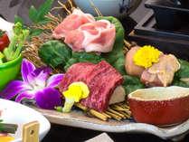 秋田錦牛・比内地鶏・八幡平ポークの3種のお肉を食べ比べ♪