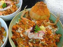 【元祖 コッペ丼】漁の関係で、1月初めまでしか食べられない貴重なメスの蟹。内子・外子たっぷり!