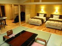 あかしや館-和洋室-露天風呂・ベッド・ダイニング・シャワールーム・マッサージチェアを備えてリニューアル