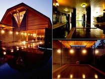 大浴場「御影殿」(右上)・心晶露天風呂(右下)・心晶(左)。館内浴場は源泉100%の温泉です。