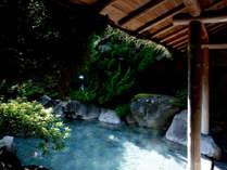 和の趣が漂う庭園の中にあり、大岩を積み重ねた湯舟の「浮世風呂」