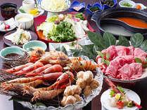 浜坂地えび&但馬ビーフの2色鍋プラン 料理イメージ