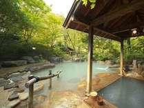 広々とした殿方露天風呂、源泉はたっぷりです。にごらなかったり、にごりが薄い日もあります。