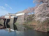 霞城公園(東大手門)。山形市内随一の桜の名所として名高いスポットです。