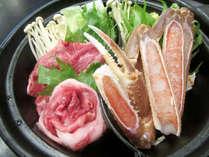かにすき&但馬牛すき焼きプランは仕切り鍋でご用意します