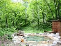 静かな森の中、自然に癒されながら温泉に浸かるシアワセ。貸切露天風呂(無料)