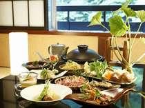 駿河軍鶏と安倍山葵の究極コラボプラン料理一例