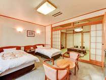 **本館和洋室(一例)ファミリーにお勧めのタイプ。大芝高原の美しい緑に面したお部屋です。