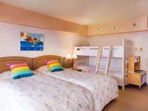 2段ベッドのお部屋はお子さま大ハシャギ!アメニティも豊富です♪