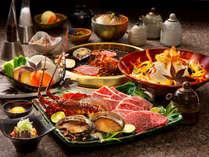 「海風」:淡路牛・伊勢海老・アワビ炭火焼コース …香ばしく炙った地産特選肉・魚介のボリュームに大満足