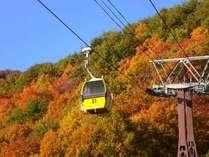 秋の磐梯山ロープウェイからの紅葉と猪苗代湖が絶景