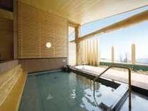 【露天風呂】天然温泉自家源泉100%かけ流しです。露天風呂からも猪苗代湖の眺望が楽しめます♪