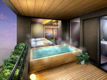 ◆客室温泉露天風呂◆道後温泉の引き湯を贅沢にかけ流し。 心行くまで湯浴みをご堪能ください。