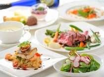 【夕食一例】素材重視のイタリアンフルコースで、デザートは盛り合わせ♪