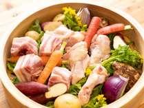 地獄釡で作るせいろ蒸し。お肉と季節の野菜。30cmセイロのみのお料理となります。