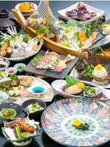 【冬】ふぐフルコース「万福の膳」に伊勢海老・アワビ等がついた「笑福の膳」