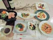 *【夕食一例】地元の食材をふんだんに使った和洋折衷のお料理