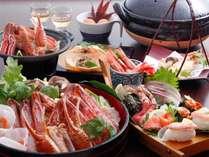 2Lカニスキ鍋コース例:1人2Lカニスキ1匹&焼きガニ半丁、カニ天ぷら、冬船盛り:船盛りのみ2人前