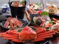 贅沢カニ会席例:大きな茹でカニ2人で1匹&焼きガニ、カニスキ小鍋、カニ天、冬船盛り付:1部2人前
