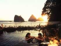 【渚の露天風呂】日本一の夕陽を望みながらの温泉はまた格別♪