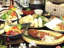 「田沢湖牛陶板焼き」丸ごと1匹「きんきの煮付け」「鶏つみれのきりたんぽ鍋」
