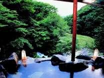 美景すら貸切れる露天風呂。渓流を望みながら非日常を愉しむ。渓谷美を望む贅沢は特別な時間を演出する。