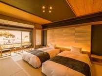 和モダンフロア「粋」。写真はツインのお部屋。一般客室とは違うアメニティをご用意