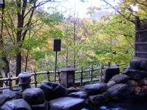【露天風呂】定山渓の紅葉。目の前には鮮やかな山々と渓谷が広がります。