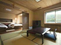 【和洋モダンルーム】10畳+ツインベッドルームのある和洋室。ベッドと和室それぞれでお休みいただけます。