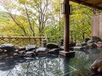 秋の露天風呂。紅葉を眺めながら源泉かけ流し温泉をご堪能いただけます。