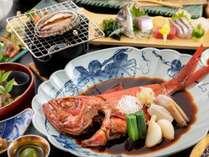 「鮑の踊り焼き」と「金目鯛の姿煮」を一緒に楽しめるWメインプラン♪※写真は一例