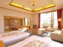 【海と富士の特別室】和洋2間つづきの角部屋。駿河湾と富士山に面しております。(72平米/バストイレ付)