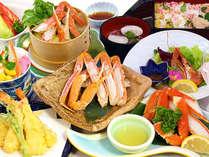 春◆陶板焼き、天ぷらにせいろ蒸し、酢物、ちらし寿司など多彩な蟹料理を堪能できる「蟹懐石」