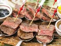 特別プラン料理のいわて牛。多種のソースでご堪能ください♪