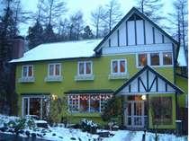 しっとりした雪景色のそらまめ。ほっこり温泉とあったかご飯で冬のひと時をお楽しみください。