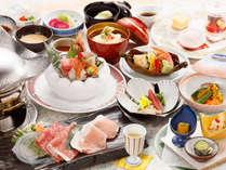 前沢牛と花巻産白金豚の食べ比べ・海の幸 ダブルメインのお得膳(2017年6~8月) ※イメージ