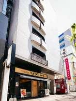 博多ターミナルホテル。やよい軒右側が玄関となっております。