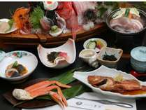 大舟盛り×露天風呂付客室 スタンダードプランのお料理(一例)※煮魚はカサゴです