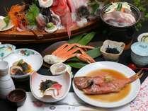 大舟盛りに金目の煮付けで舌鼓プランのご夕食(一例)