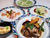 夕食の一例:お手軽タンシチューコース。本格洋風コースを気取らずにお箸でお召し上がり頂きます。