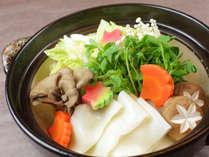 11月~12月夕食一例:ご当地!郷土料理の「おきりこみ」晩秋は胡麻風味のお出汁です♪