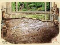 半露天風の大浴場は四季折々の風景を眺めながら・・・。(画:鳥取出身の画家、福田典高)