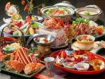 【冬の煌き会席】茹で蟹、刺し、焼き、鍋、天ぷらとボリューム満点!※イメージ画像(カニは二人前盛)