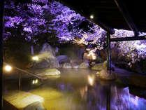 「ゆめの湯」露天岩風呂 屋根の下で桜を愛でる