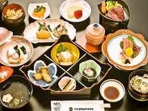 【和食会席イメージ】牛陶板焼(又はしゃぶ小鍋)、刺身三種盛りなど多彩な創作会席。※一例です!