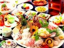 海賊グルメプランの料理例。伊勢海老や鮑など高級食材をふんだんに使った贅沢なプランです