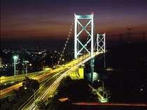 ★関門海峡の夜景★関門橋もライトアップされ、なんともロマンティックな風景です♪♪