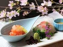 春の御造りです。色鮮やかな新鮮な食材をお召し上がりください。
